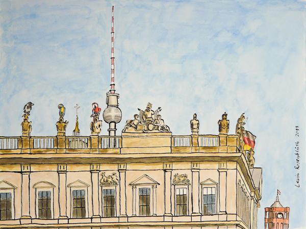 Der Knutschpapagei, die Liebste und Alwin auf dem Dach des Zeughauses